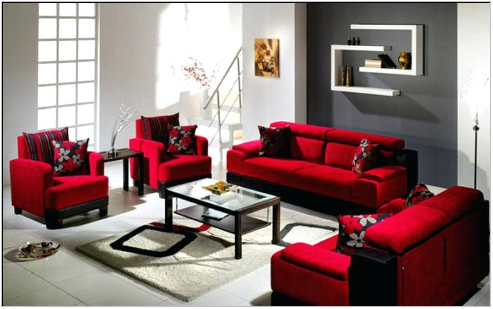 Red Velvet Living Room Set