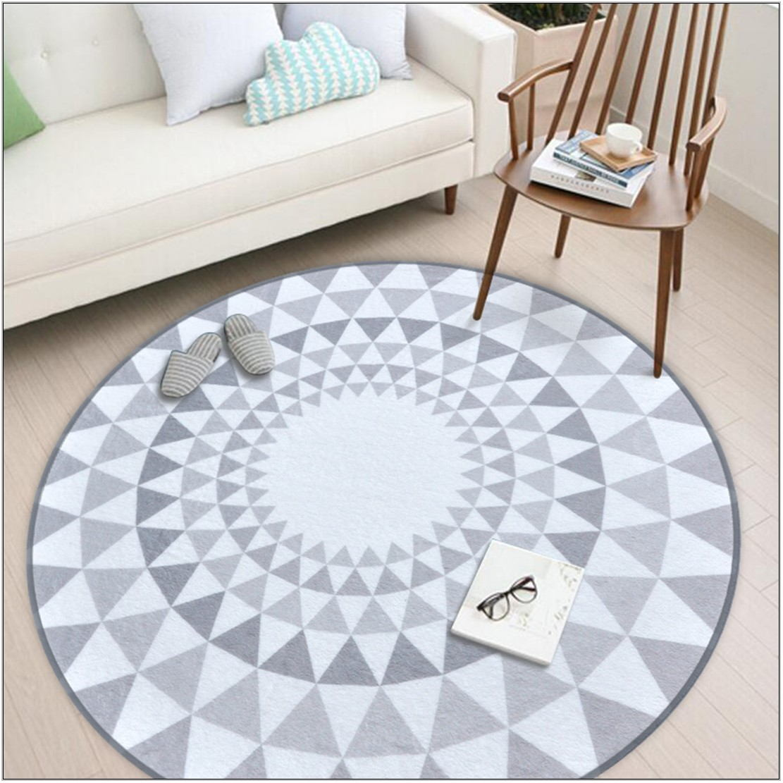 Round Gray Rug For Living Room