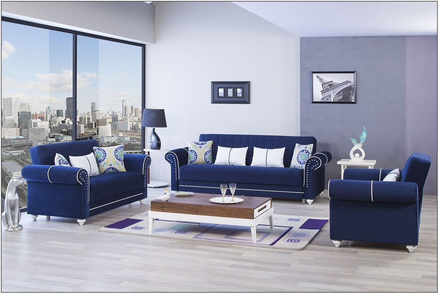 Royal Blue Living Room Set