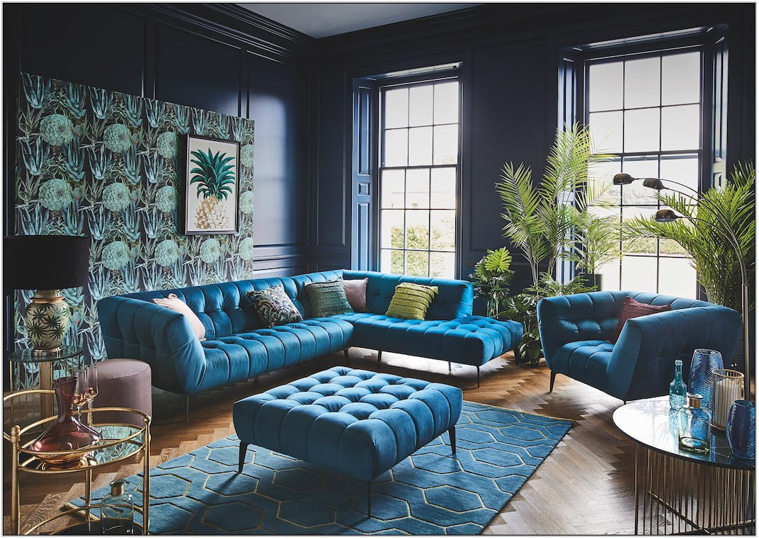 Teal And Gold Living Room