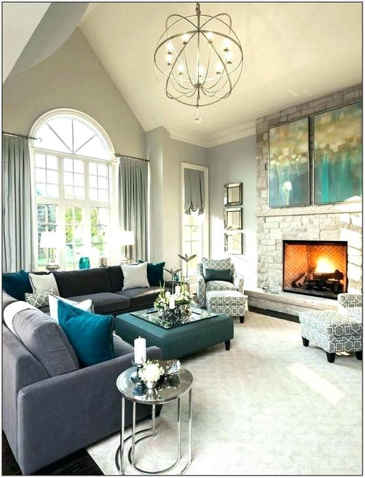 Teal And Gray Curtains Living Room