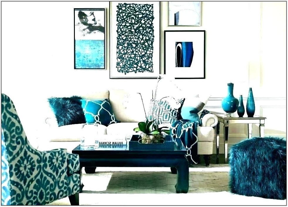 Teal White And Grey Living Room