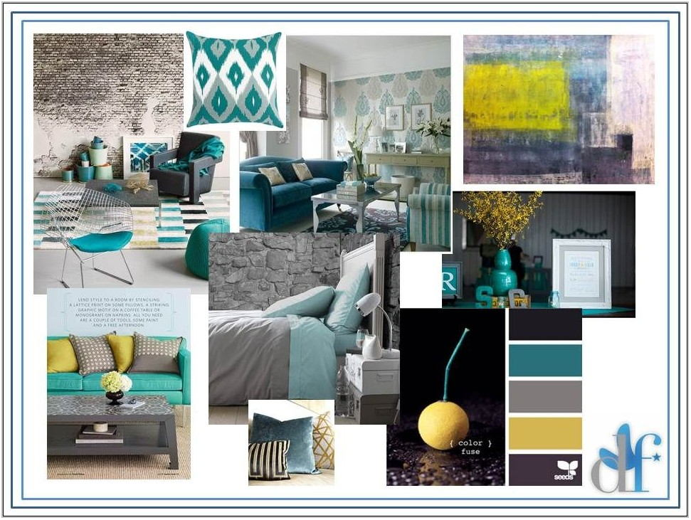 Teal Yellow Living Room