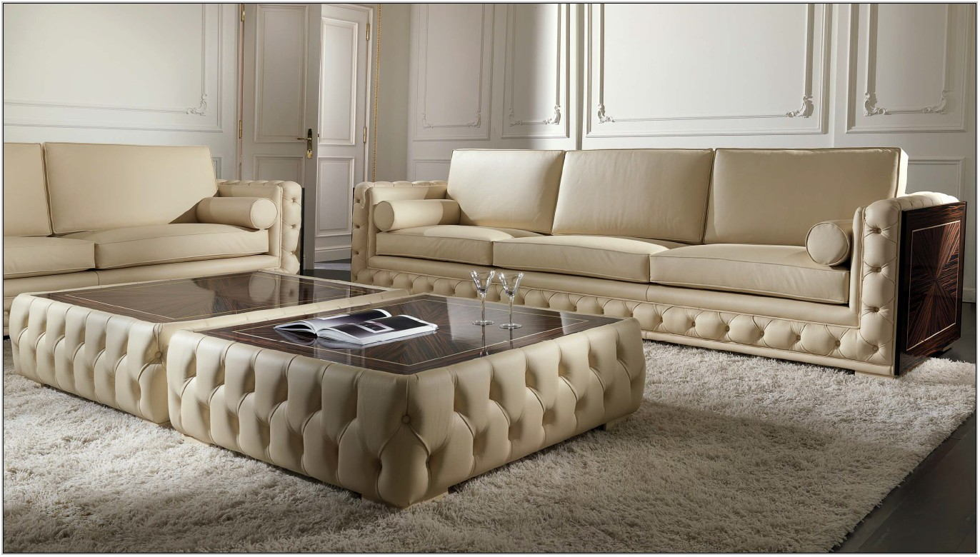 Tufted Leather Living Room Set