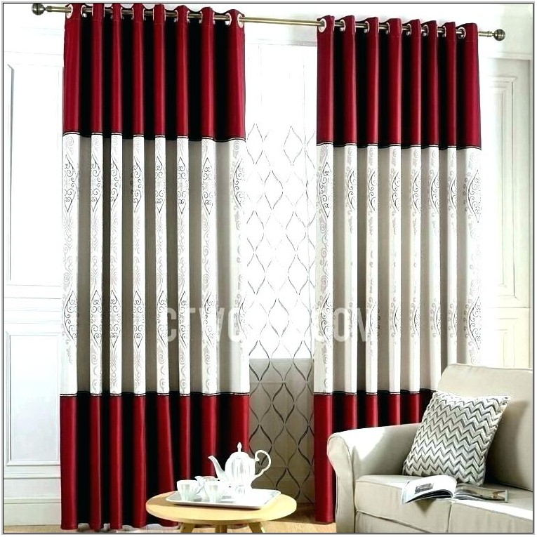 White And Red Curtains For Living Room