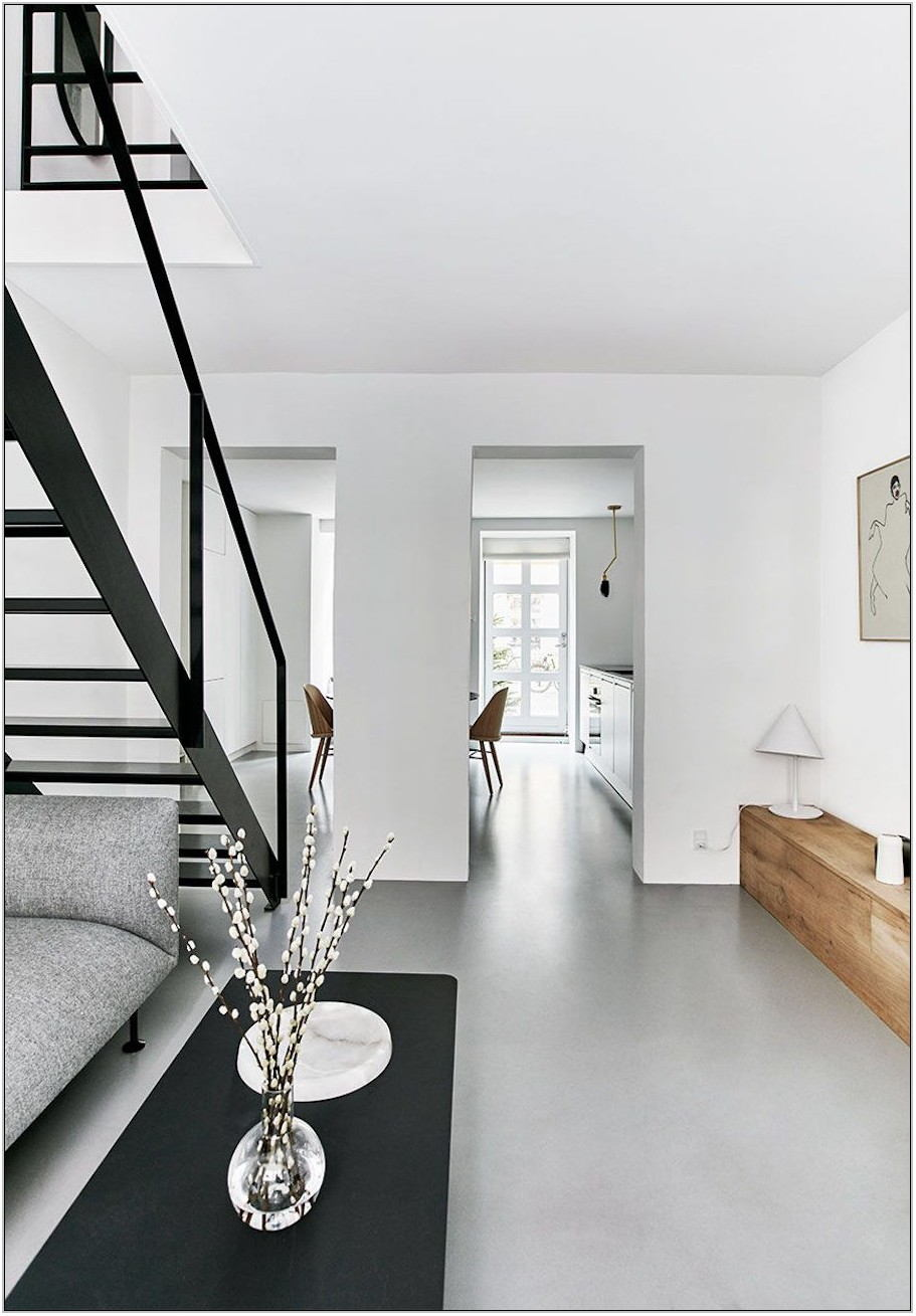 White Epoxy Floor Living Room