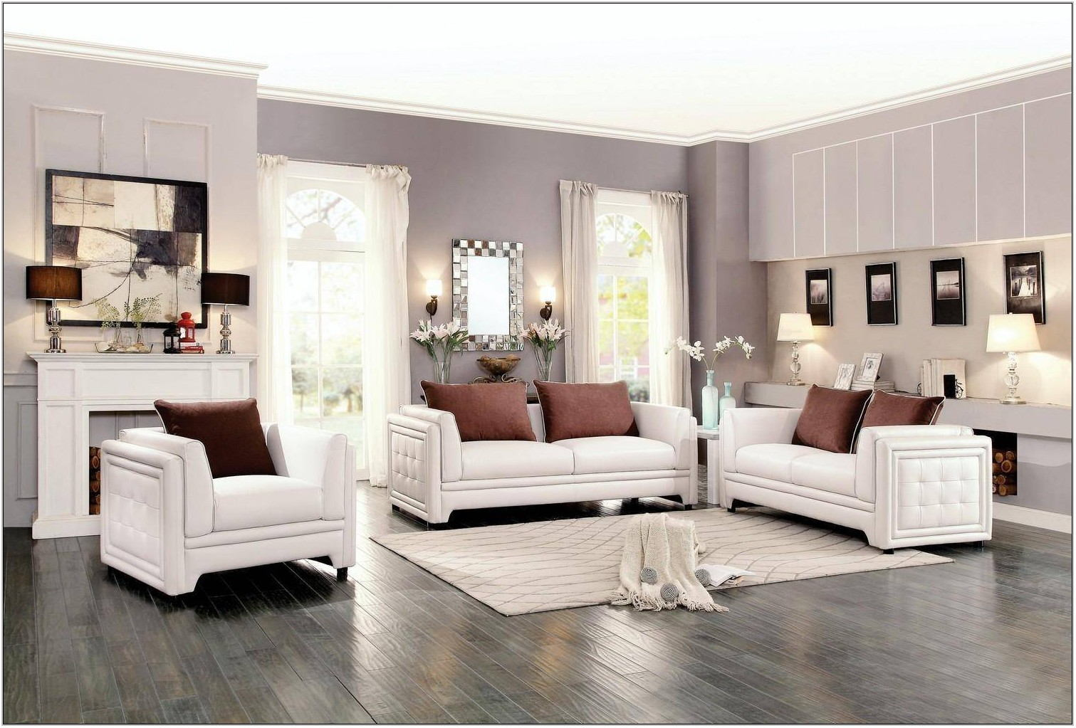 White Faux Leather Living Room Set