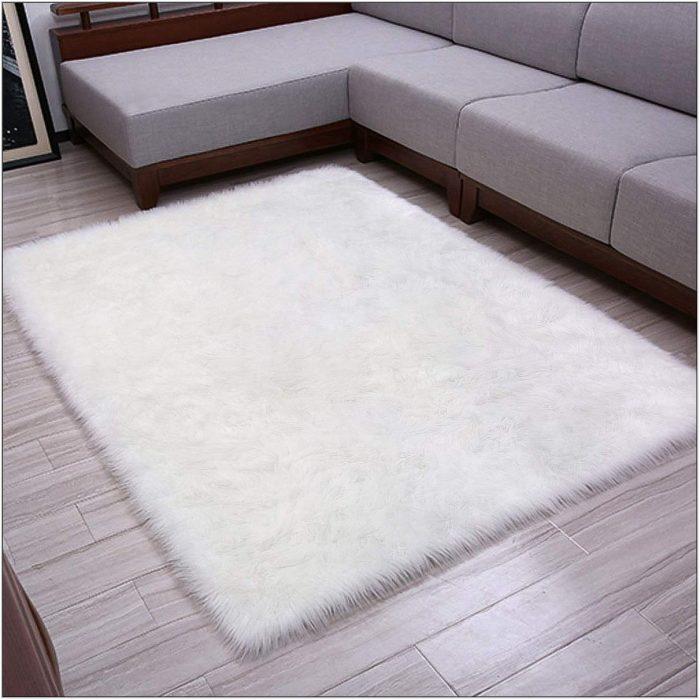 White Fluffy Rug For Living Room