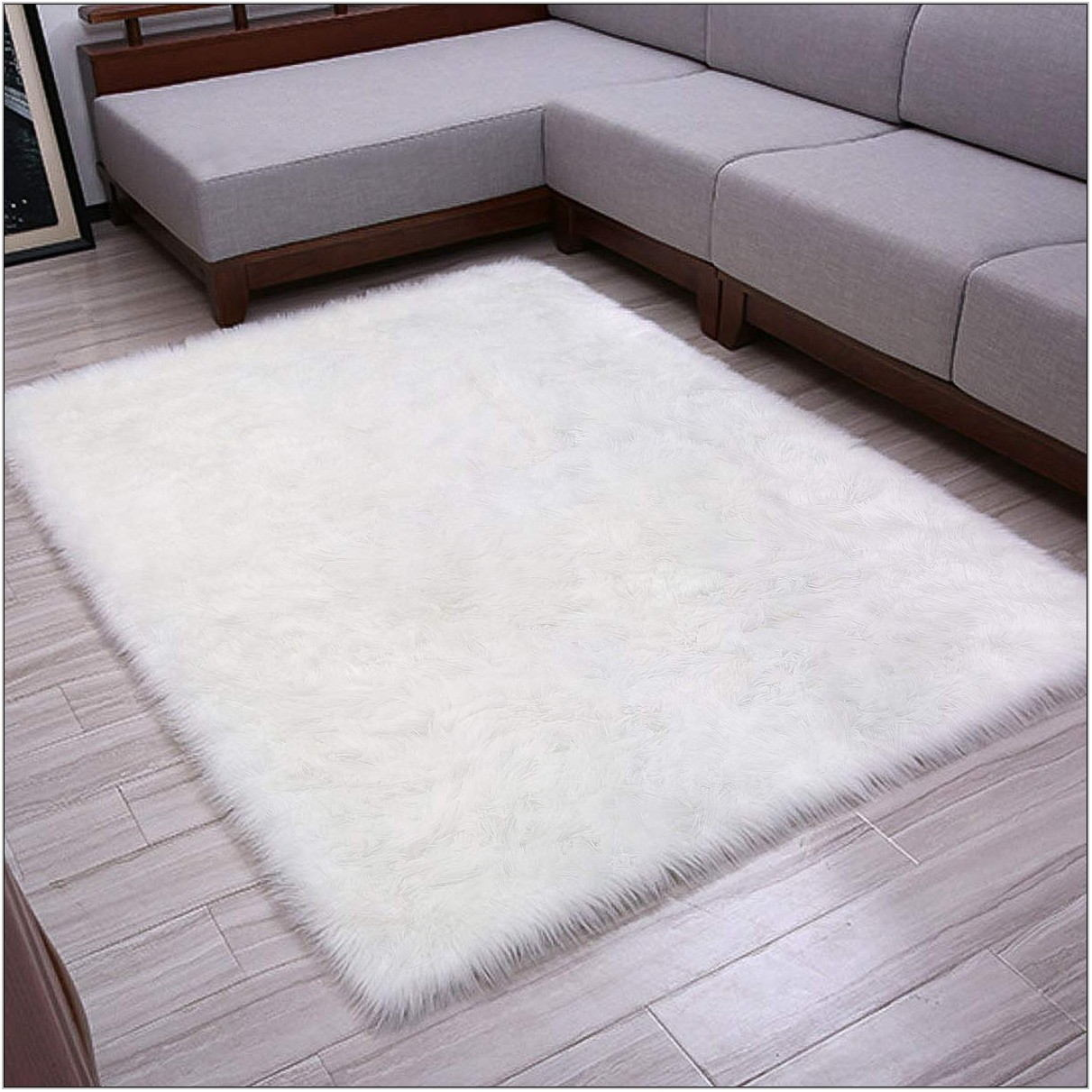 White Fluffy Rug For Living Room
