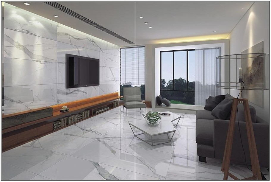White Marble Floor Living Room