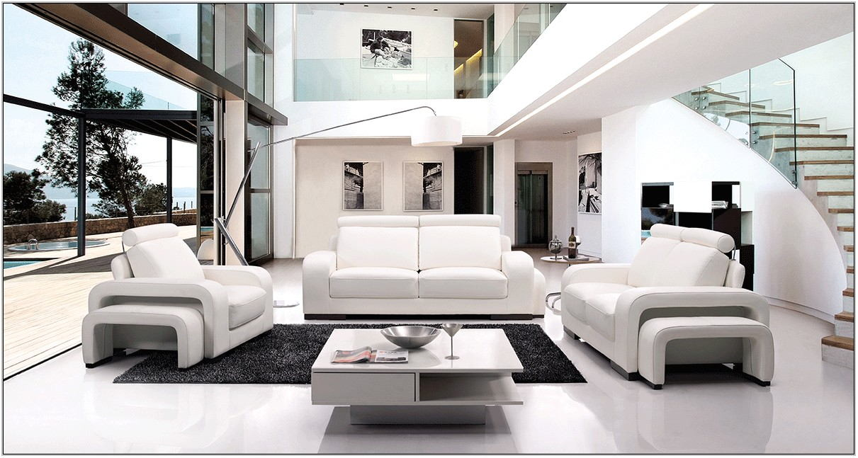 White Modern Living Room Sets