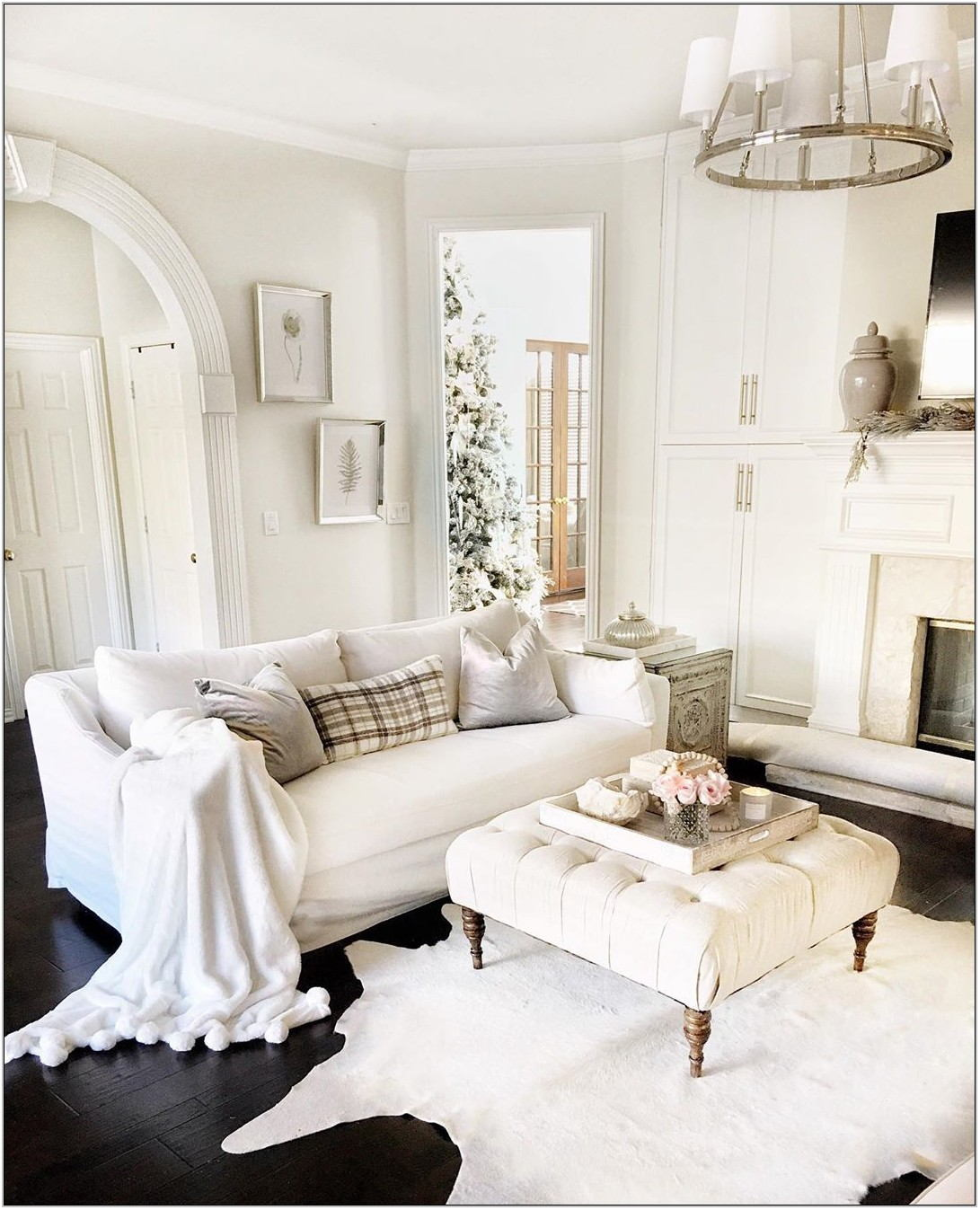 White Slipcovered Sofa Living Room