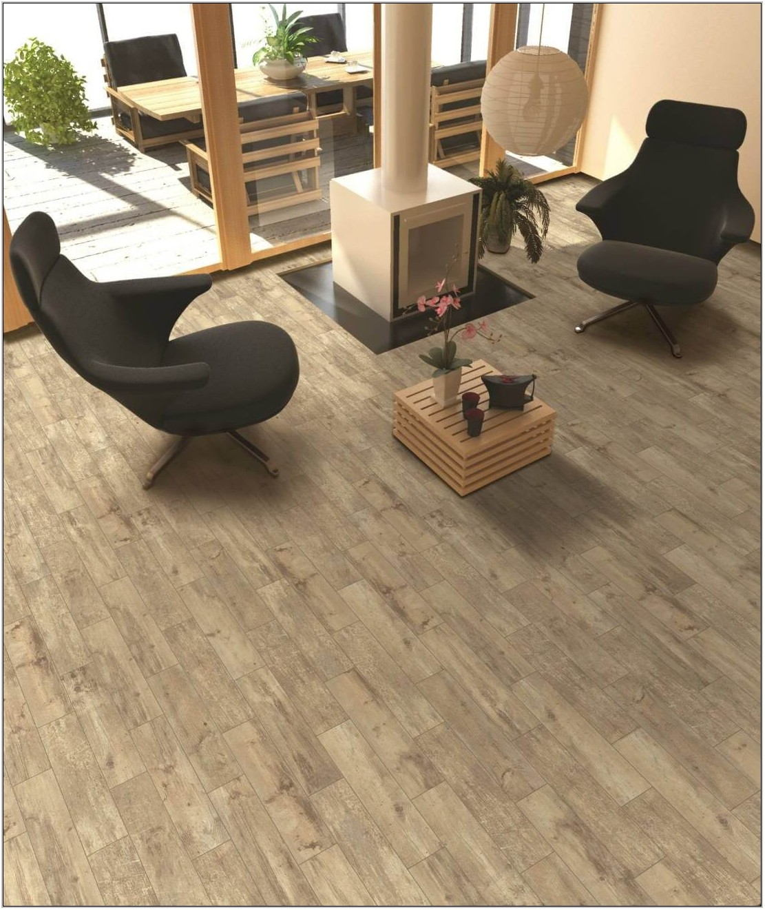 Wood Look Tile Living Room