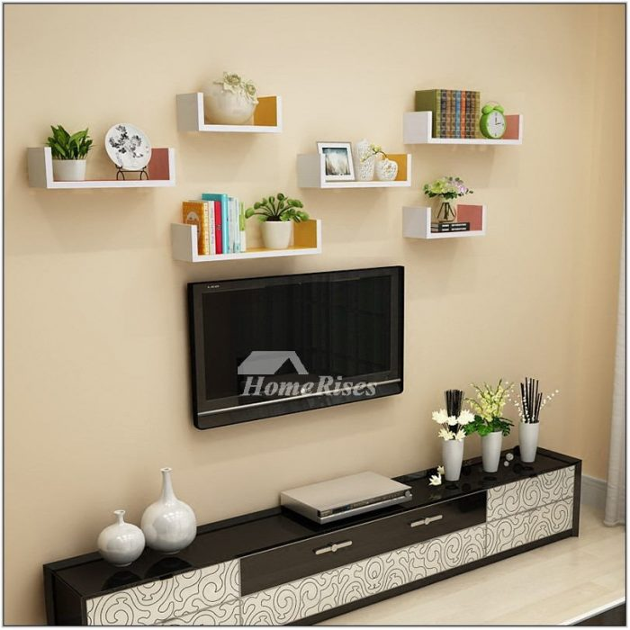 Wooden Shelves Living Room