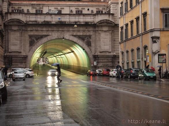 Tunnel along Via del Traforo in the Rain