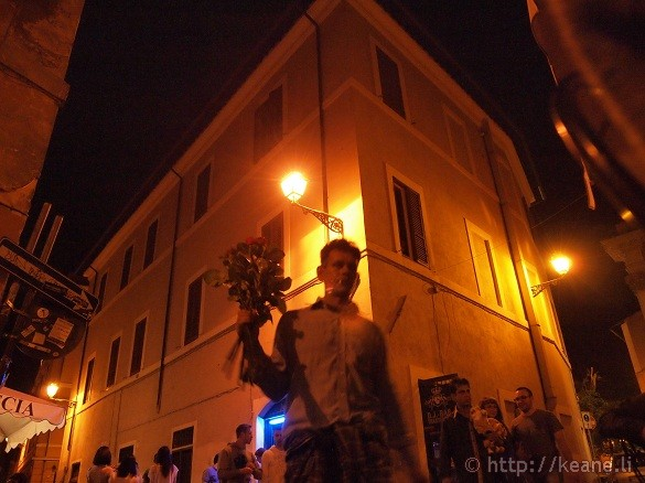 Flower Seller in Trastevere at Night