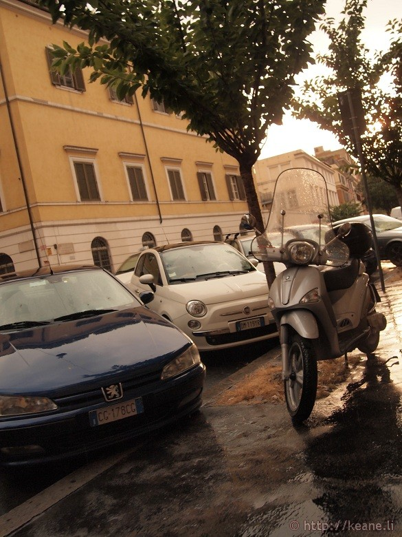 Rome in the Rain - Scooter in Prati