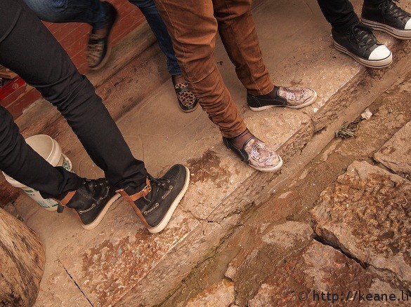 Hip shoes in Sifeng Square in Lijiang's Shu He Ancient Town