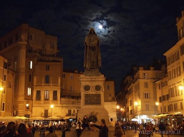 Full moon and the statue of Giordano Bruno in the Campo de' Fiori