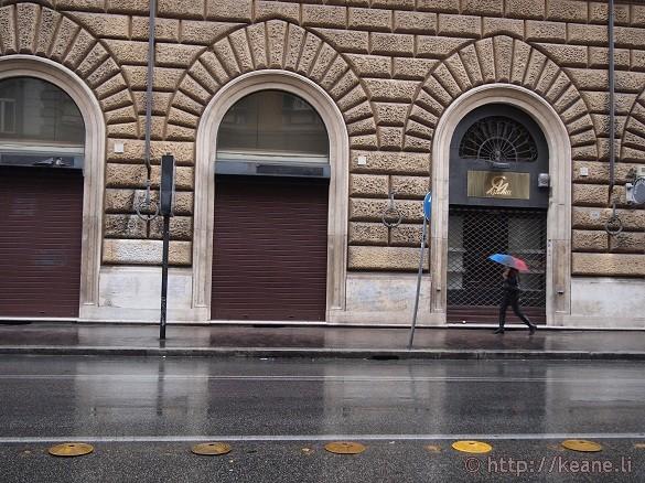 Girl in Rain in Prati, Rome