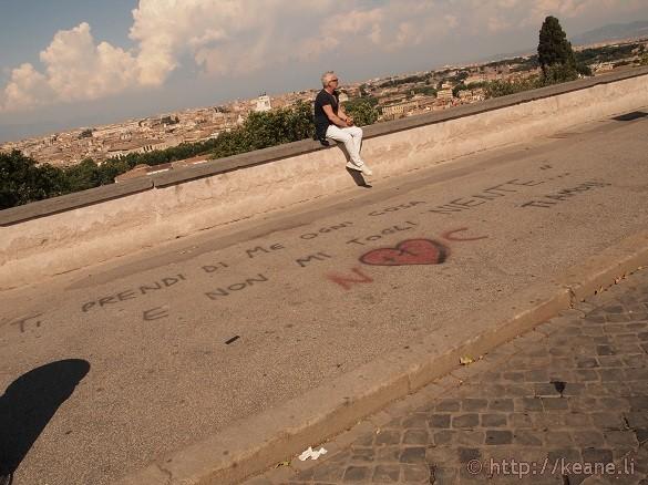 Love graffiti on Gianicolo in Rome
