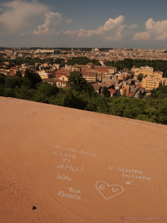 Love graffiti and view of Rome from Gianicolo