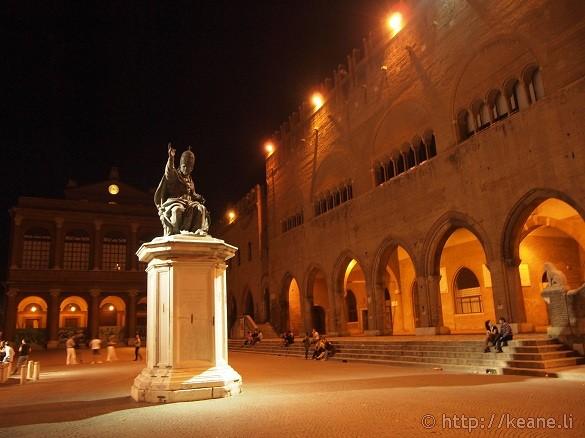 Piazza Cavour in Rimini's Centro Storico at night