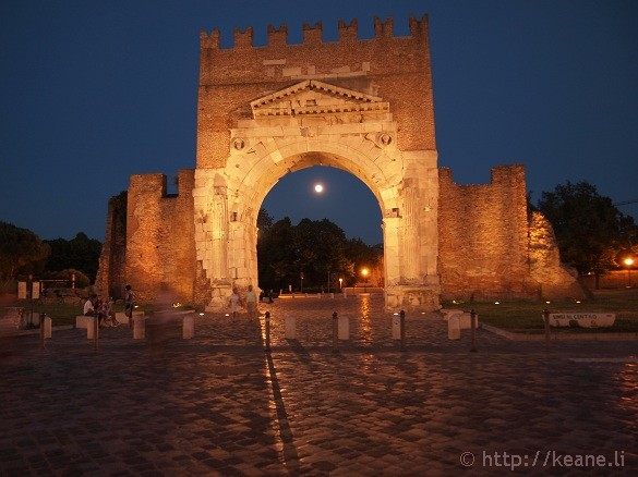 Arco d'Augusto in Rimini's Centro Storico at night