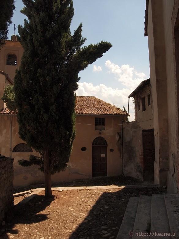 Outside a church in Brisighella