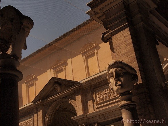 Head sculptures in a courtyard in the Vatican Museums