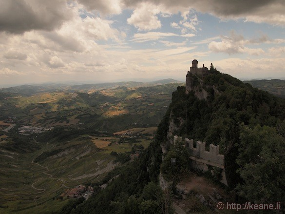 Panoramic view of Guaita Castle from top of San Marino