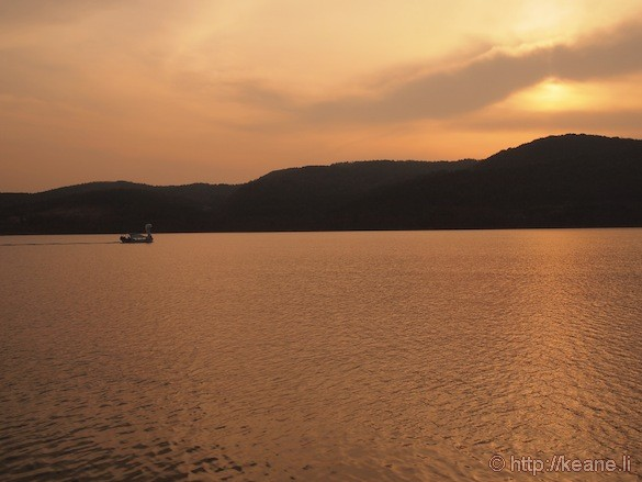 Sunset and Duck Boat at the Bomun Lake Resort in Gyeongju