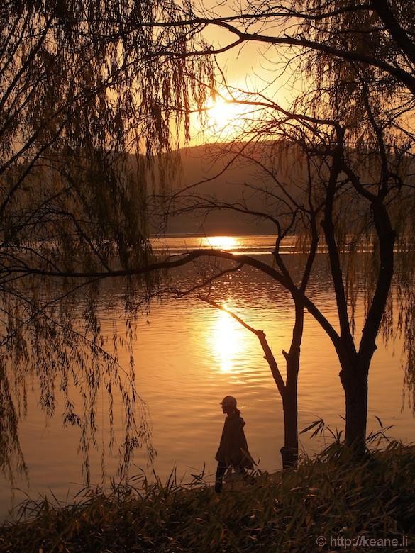 Sunset at the Bomun Lake Resort in Gyeongju
