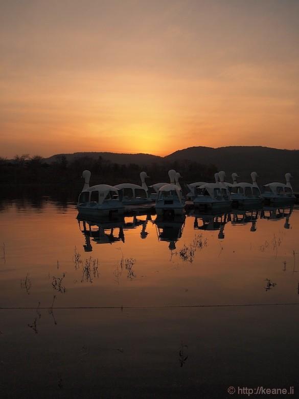 Sunset and Duck Boats at the Bomun Lake Resort in Gyeongju