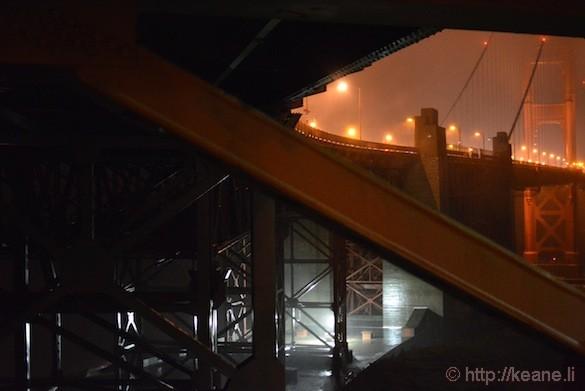 Golden Gate Bridge at night in the rain