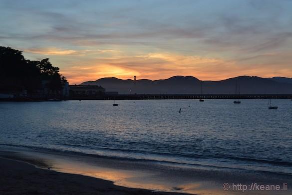 Sunset at Aquatic Park and Golden Gate Bridge
