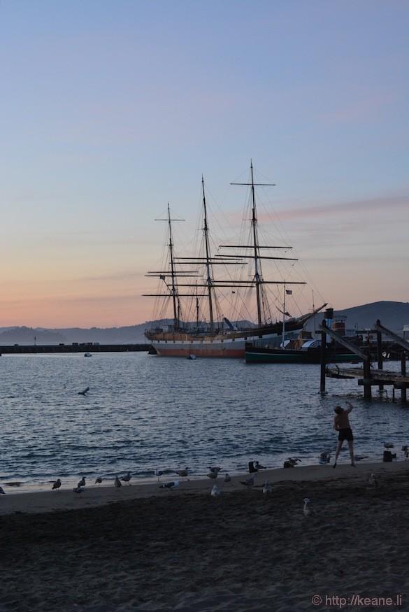 Historic Ship in Aquatic Park at Sunset