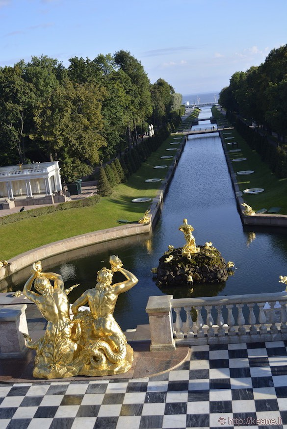 Golden Statues and Fountains in Front of Peterhof Palace