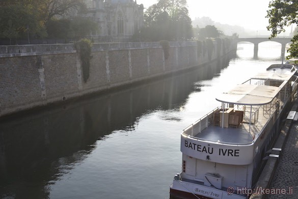 Notre Dame Cathedral - Seine and the Bateau Ivre Boat