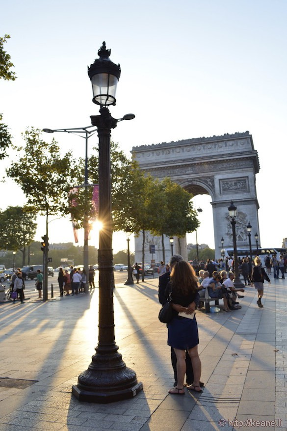 Champs-Élysées - Arc de Triomphe and Couple Kissing