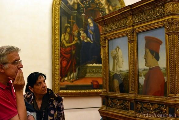 Portraits of the Dukes of Urbino by Piero della Francesca in the Galleria degli Uffizi