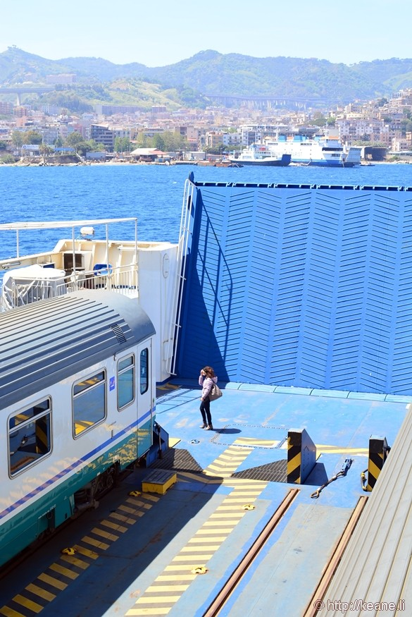 Train Boarding Ferry to Cross the Strait of Messina from Sicily to Mainland Italy