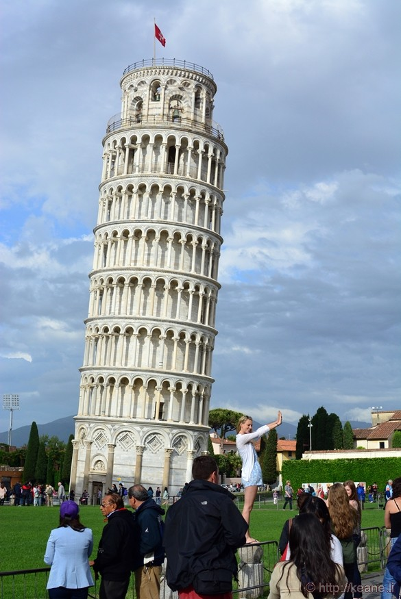 Tourist Posing with the Leaning Tower of Pisa