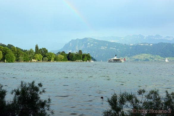 Rainbow and Boat in Lake Lucerne