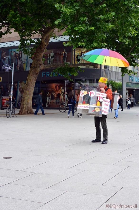 Colorful Bratwurst Vendor Along the Zeil