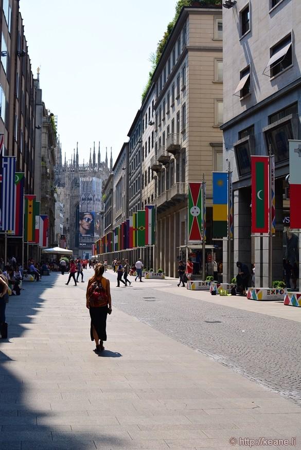 Girl Walking Towards Duomo in Milan