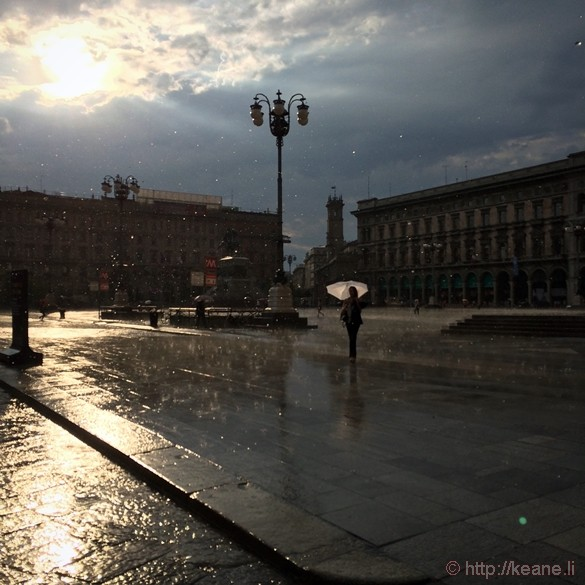 Girl with Umbrella in the Rain in Milan's Piazza del Duomo