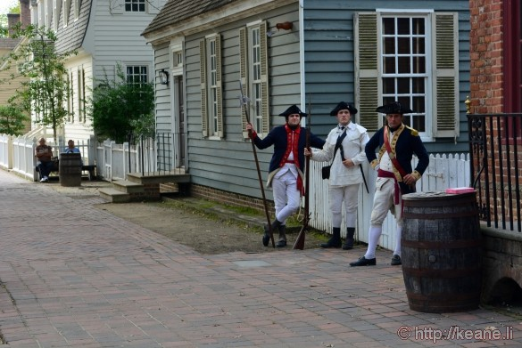 Colonial Williamsburg - Three Soldiers on Duke of Glouester Street