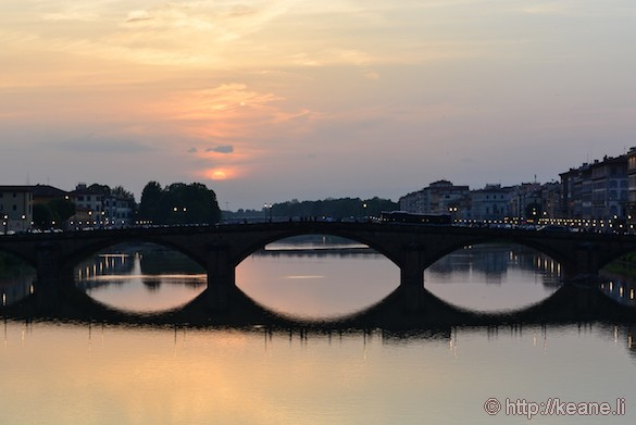 Sunset Over the River Arno in Florence
