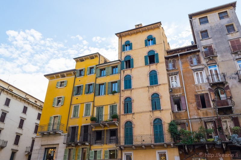 Colorful Houses in the Piazza delle Erbe